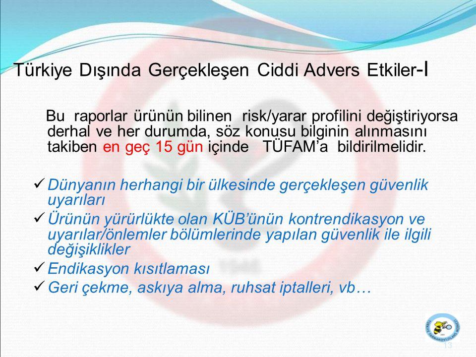 14 Türkiye Dışında Gerçekleşen Ciddi Advers Etkiler-II  Ruhsat sahibinin dünya literatüründen haberdar ve bilgi sahibi olması beklenir.