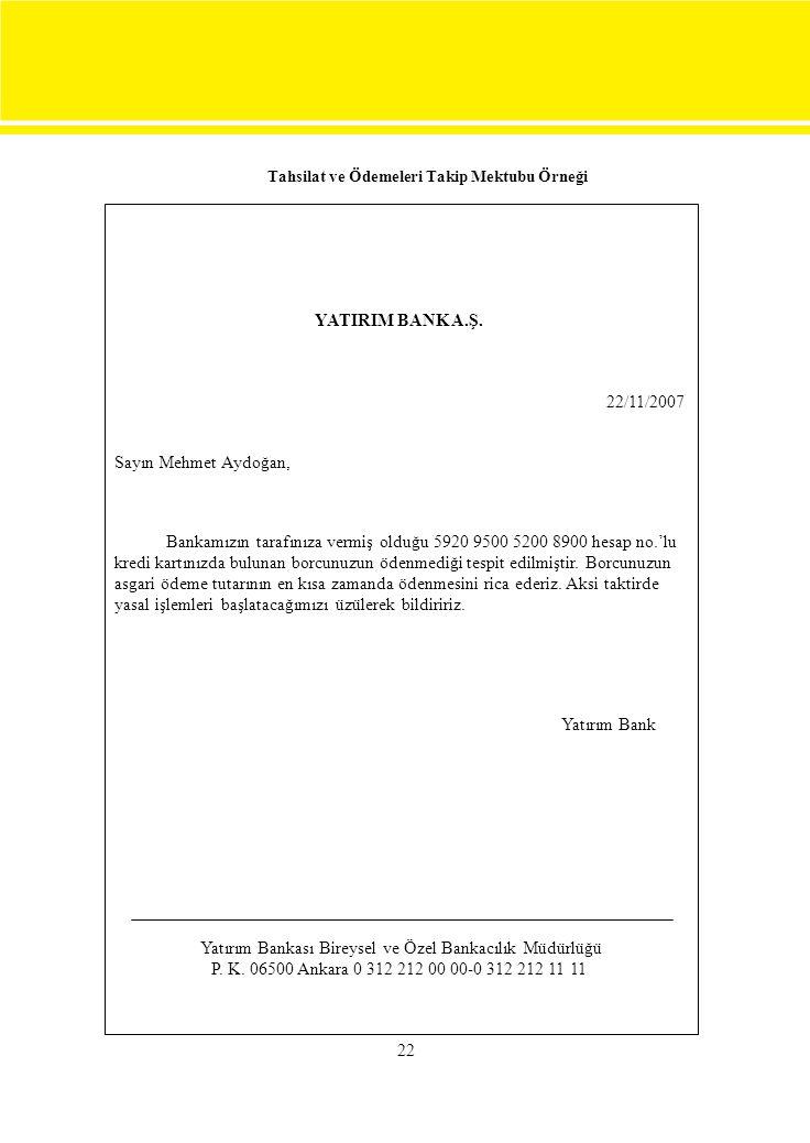 22 Tahsilat ve Ödemeleri Takip Mektubu Örneği YATIRIM BANK A.Ş. 22/11/2007 Sayın Mehmet Aydoğan, Bankamızın tarafınıza vermiş olduğu 5920 9500 5200 89