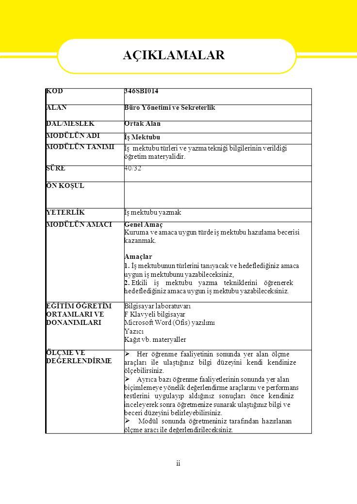 KOD346SBI014 ALANBüro Yönetimi ve Sekreterlik DAL/MESLEKOrtak Alan MODÜLÜN ADI İş Mektubu MODÜLÜN TANIMI İş mektubu türleri ve yazma tekniği bilgileri