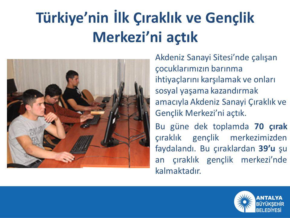Türkiye'nin İlk Çıraklık ve Gençlik Merkezi'ni açtık Akdeniz Sanayi Sitesi'nde çalışan çocuklarımızın barınma ihtiyaçlarını karşılamak ve onları sosya