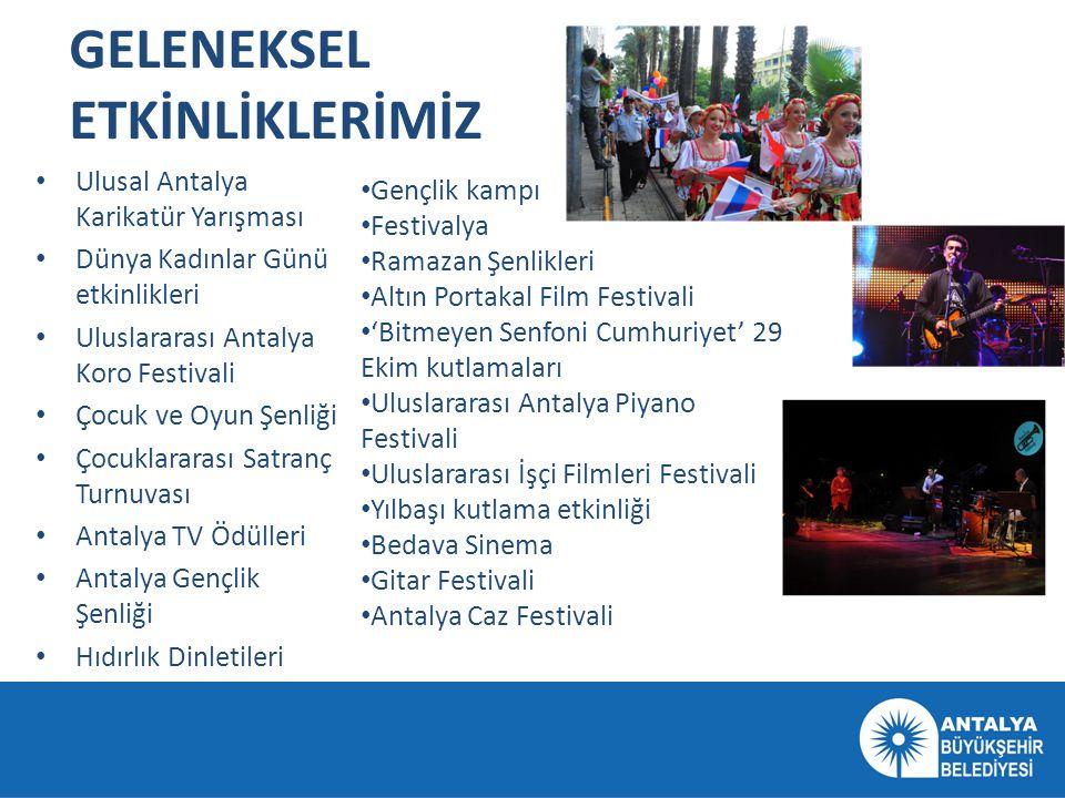 GELENEKSEL ETKİNLİKLERİMİZ • Ulusal Antalya Karikatür Yarışması • Dünya Kadınlar Günü etkinlikleri • Uluslararası Antalya Koro Festivali • Çocuk ve Oy