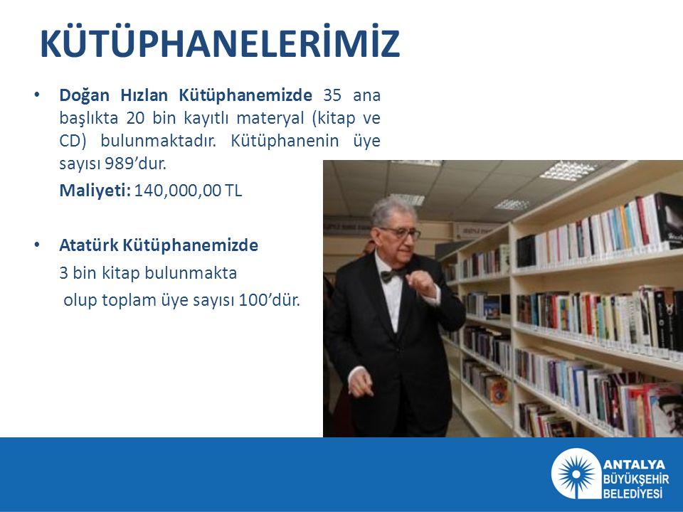 KÜTÜPHANELERİMİZ • Doğan Hızlan Kütüphanemizde 35 ana başlıkta 20 bin kayıtlı materyal (kitap ve CD) bulunmaktadır. Kütüphanenin üye sayısı 989'dur. M