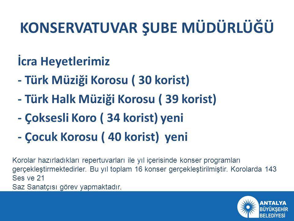 KONSERVATUVAR ŞUBE MÜDÜRLÜĞÜ İcra Heyetlerimiz - Türk Müziği Korosu ( 30 korist) - Türk Halk Müziği Korosu ( 39 korist) - Çoksesli Koro ( 34 korist) y