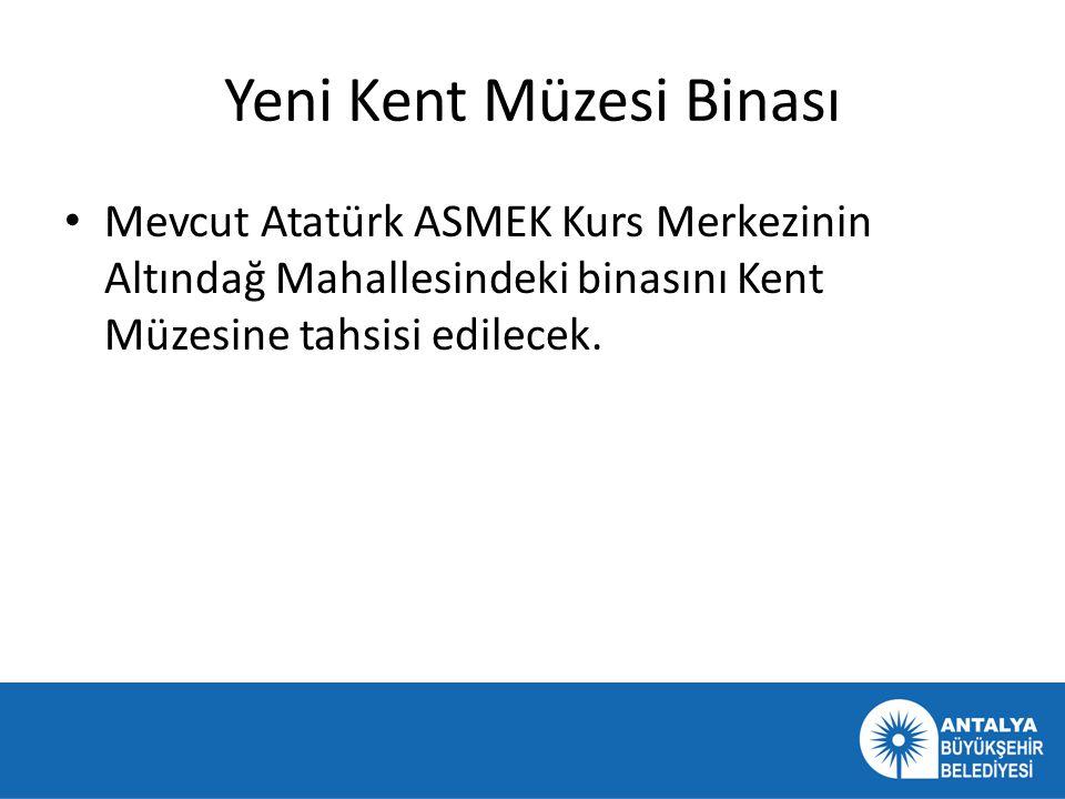 Yeni Kent Müzesi Binası • Mevcut Atatürk ASMEK Kurs Merkezinin Altındağ Mahallesindeki binasını Kent Müzesine tahsisi edilecek.