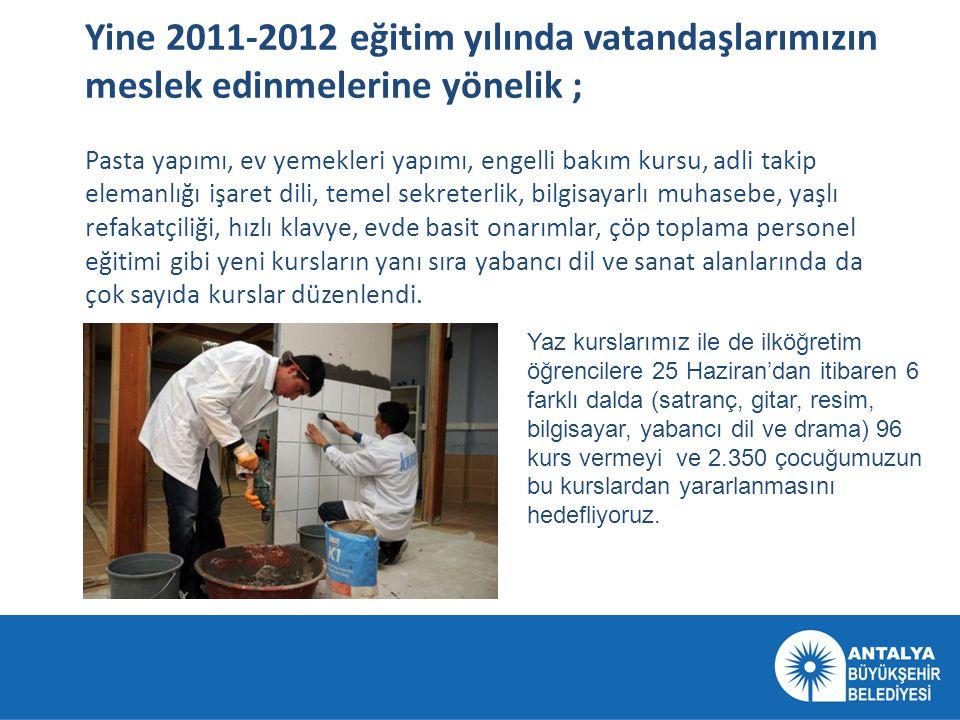 Yine 2011-2012 eğitim yılında vatandaşlarımızın meslek edinmelerine yönelik ; Pasta yapımı, ev yemekleri yapımı, engelli bakım kursu, adli takip elema