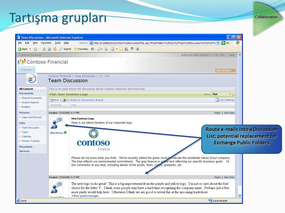 Tartışma grupları Collaboration Route e-mails into a Discussion List; potential replacement for Exchange Public Folders