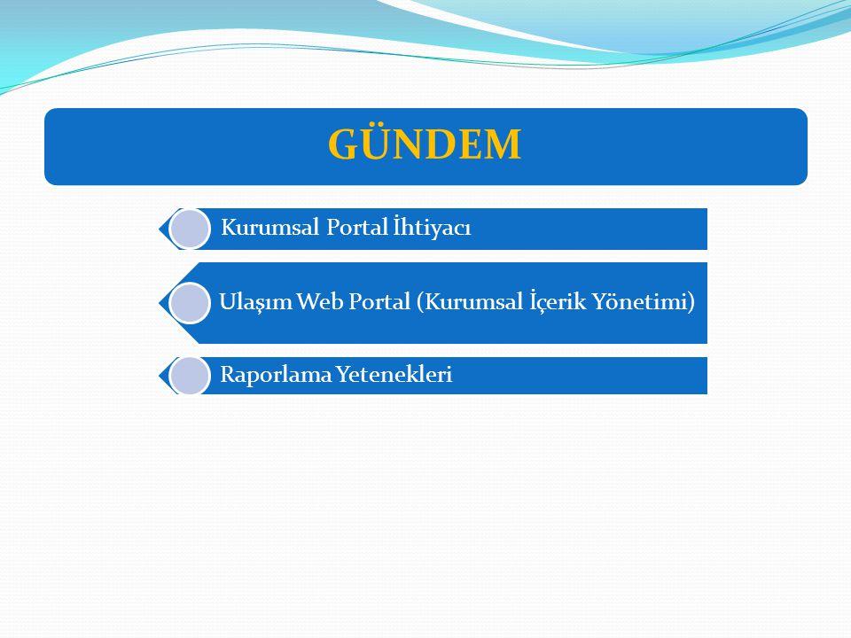 GÜNDEM Kurumsal Portal İhtiyacı Ulaşım Web Portal (Kurumsal İçerik Yönetimi) Raporlama Yetenekleri