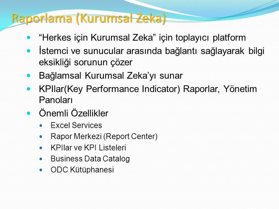 Business Intelligence Widespread delivery of tools and solutions to any desktop or Web page  Herkes için Kurumsal Zeka için toplayıcı platform  İstemci ve sunucular arasında bağlantı sağlayarak bilgi eksikliği sorunun çözer  Bağlamsal Kurumsal Zeka'yı sunar  KPIlar(Key Performance Indicator) Raporlar, Yönetim Panoları  Önemli Özellikler  Excel Services  Rapor Merkezi (Report Center)  KPIlar ve KPI Listeleri  Business Data Catalog  ODC Kütüphanesi Raporlama (Kurumsal Zeka)