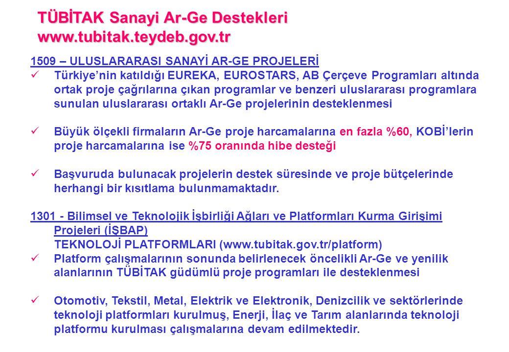 1509 – ULUSLARARASI SANAYİ AR-GE PROJELERİ  Türkiye'nin katıldığı EUREKA, EUROSTARS, AB Çerçeve Programları altında ortak proje çağrılarına çıkan pro