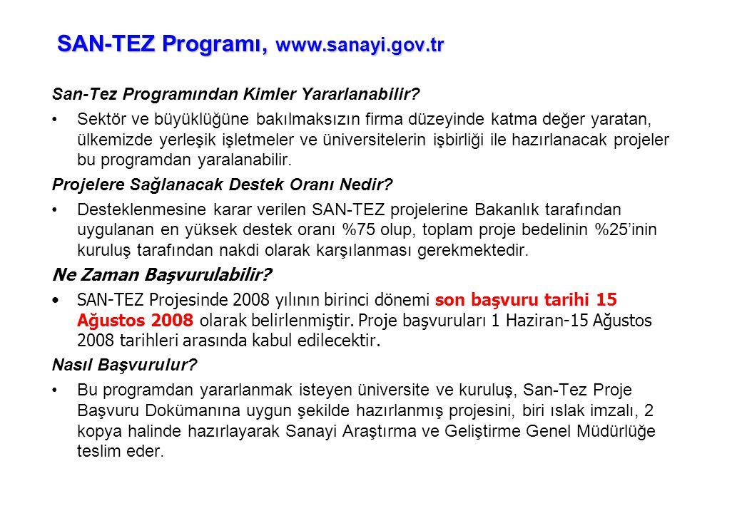 SAN-TEZ Programı, www.sanayi.gov.tr San-Tez Programından Kimler Yararlanabilir? •Sektör ve büyüklüğüne bakılmaksızın firma düzeyinde katma değer yarat