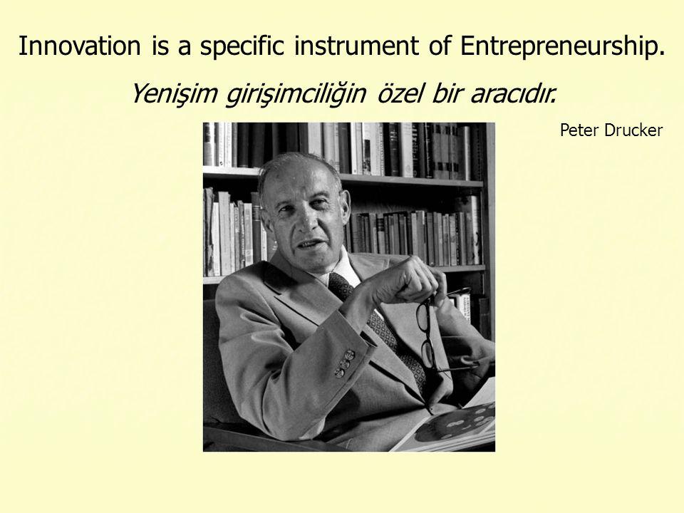Innovation is a specific instrument of Entrepreneurship. Yenişim girişimciliğin özel bir aracıdır. Peter Drucker