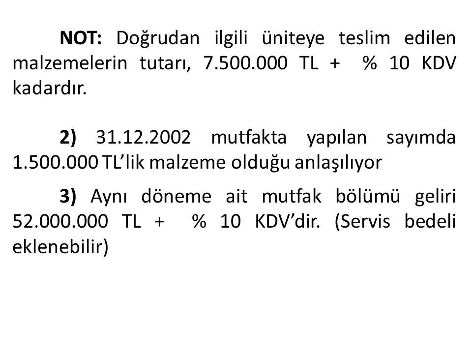 NOT: Doğrudan ilgili üniteye teslim edilen malzemelerin tutarı, 7.500.000 TL + % 10 KDV kadardır. 2) 31.12.2002 mutfakta yapılan sayımda 1.500.000 TL'