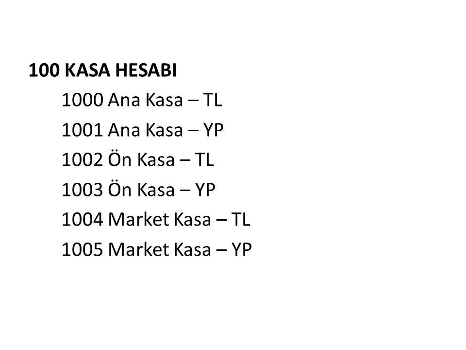 100 KASA HESABI 1000 Ana Kasa – TL 1001 Ana Kasa – YP 1002 Ön Kasa – TL 1003 Ön Kasa – YP 1004 Market Kasa – TL 1005 Market Kasa – YP