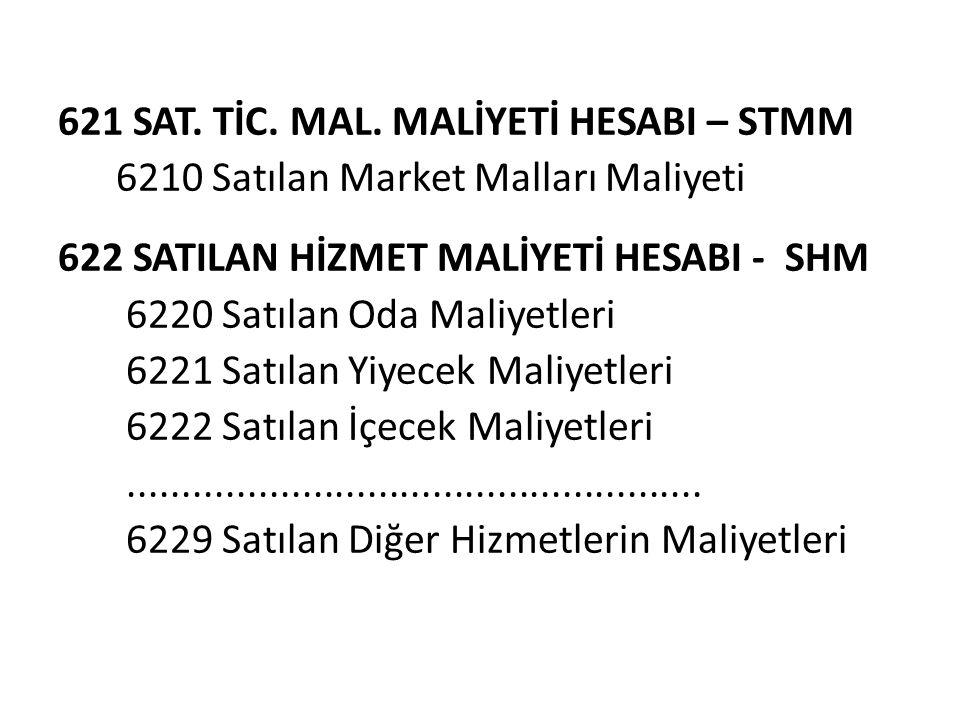 621 SAT. TİC. MAL. MALİYETİ HESABI – STMM 6210 Satılan Market Malları Maliyeti 622 SATILAN HİZMET MALİYETİ HESABI - SHM 6220 Satılan Oda Maliyetleri 6