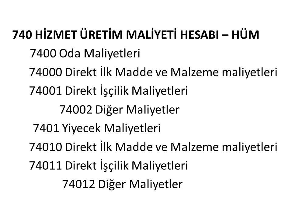 740 HİZMET ÜRETİM MALİYETİ HESABI – HÜM 7400 Oda Maliyetleri 74000 Direkt İlk Madde ve Malzeme maliyetleri 74001 Direkt İşçilik Maliyetleri 74002 Diğe