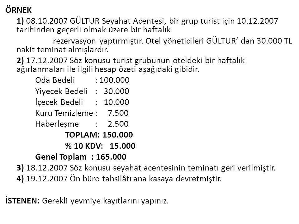 ÖRNEK 1) 08.10.2007 GÜLTUR Seyahat Acentesi, bir grup turist için 10.12.2007 tarihinden geçerli olmak üzere bir haftalık rezervasyon yaptırmıştır. Ote