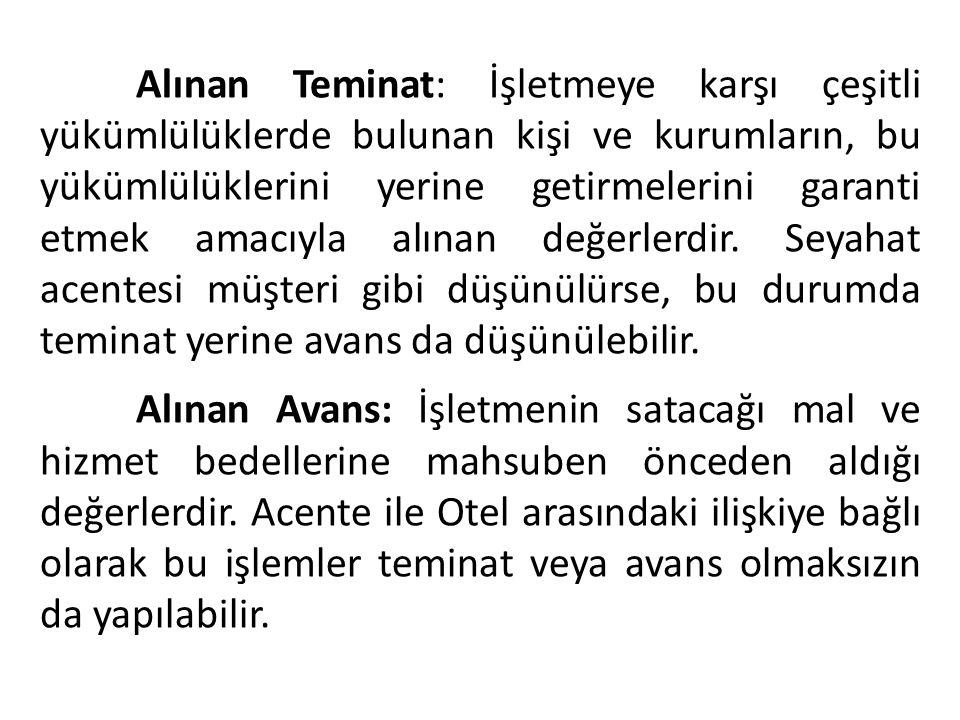 Alınan Teminat: İşletmeye karşı çeşitli yükümlülüklerde bulunan kişi ve kurumların, bu yükümlülüklerini yerine getirmelerini garanti etmek amacıyla al