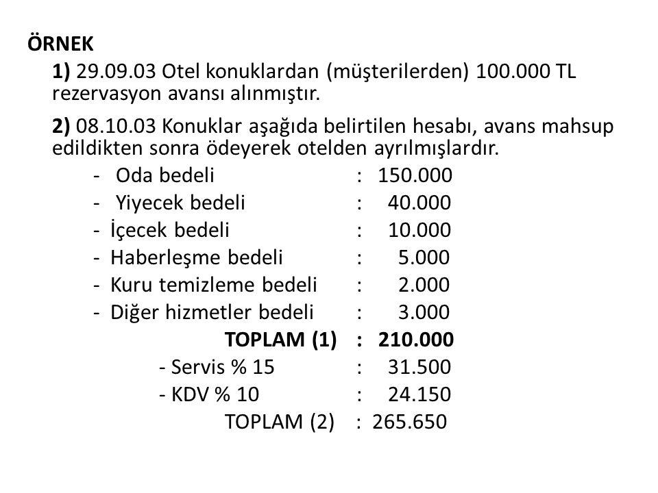 ÖRNEK 1) 29.09.03 Otel konuklardan (müşterilerden) 100.000 TL rezervasyon avansı alınmıştır. 2) 08.10.03 Konuklar aşağıda belirtilen hesabı, avans mah