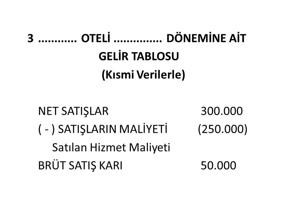 3............ OTELİ............... DÖNEMİNE AİT GELİR TABLOSU (Kısmi Verilerle) NET SATIŞLAR 300.000 ( - ) SATIŞLARIN MALİYETİ (250.000) Satılan Hizme