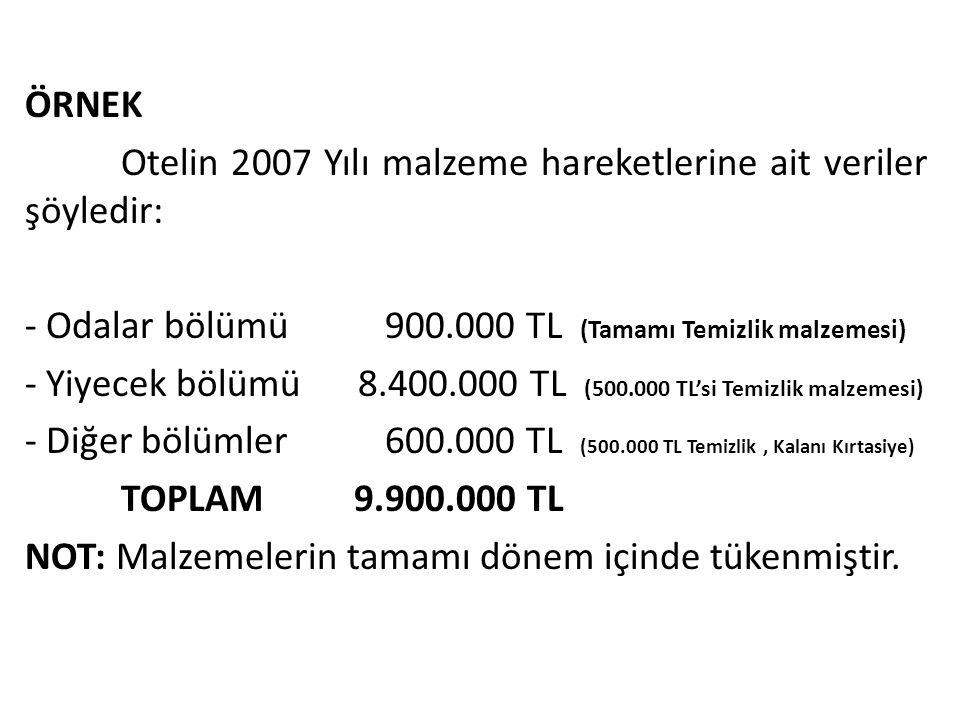 ÖRNEK Otelin 2007 Yılı malzeme hareketlerine ait veriler şöyledir: - Odalar bölümü 900.000 TL (Tamamı Temizlik malzemesi) - Yiyecek bölümü 8.400.000 T