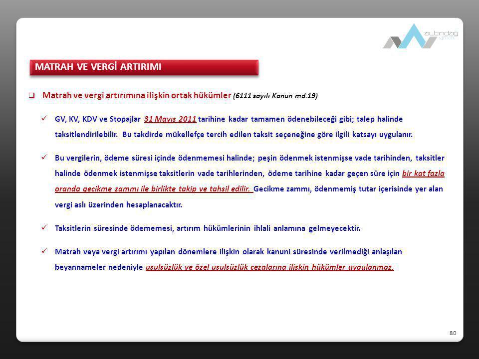  Matrah ve vergi artırımına ilişkin ortak hükümler (6111 sayılı Kanun md.19)  GV, KV, KDV ve Stopajlar 31 Mayıs 2011 tarihine kadar tamamen ödenebil