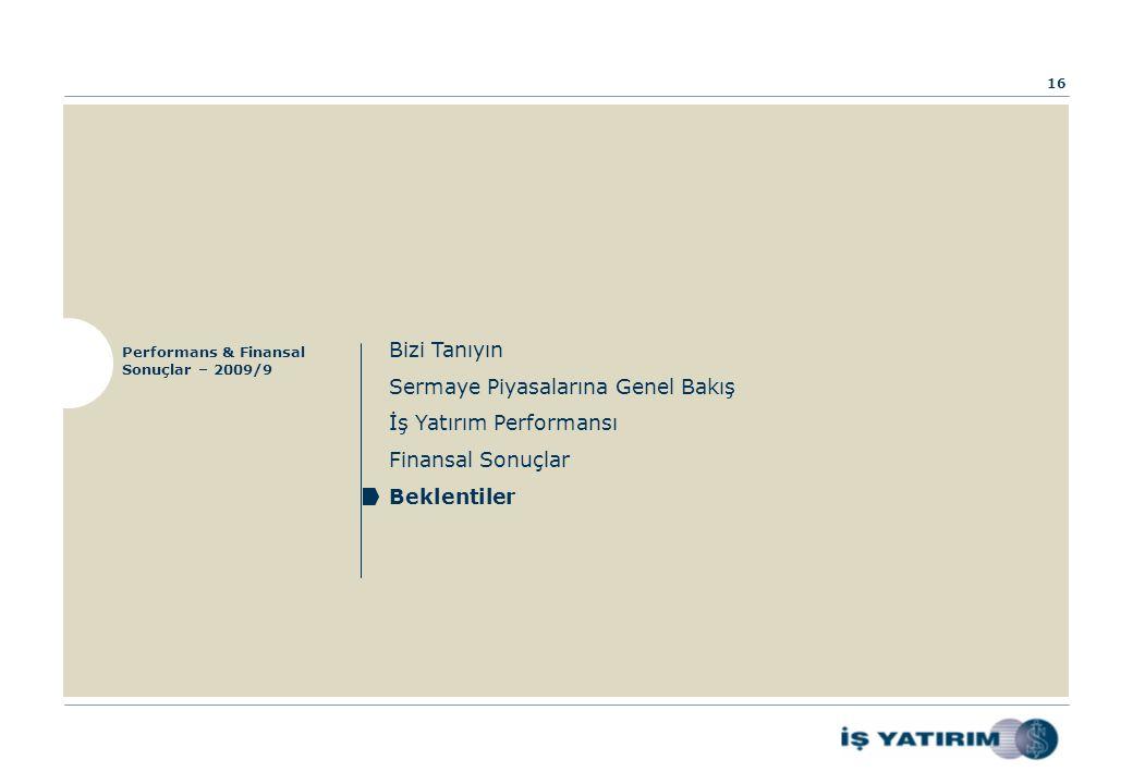 Bizi Tanıyın Sermaye Piyasalarına Genel Bakış İş Yatırım Performansı Finansal Sonuçlar Beklentiler Performans & Finansal Sonuçlar – 2009/9 16