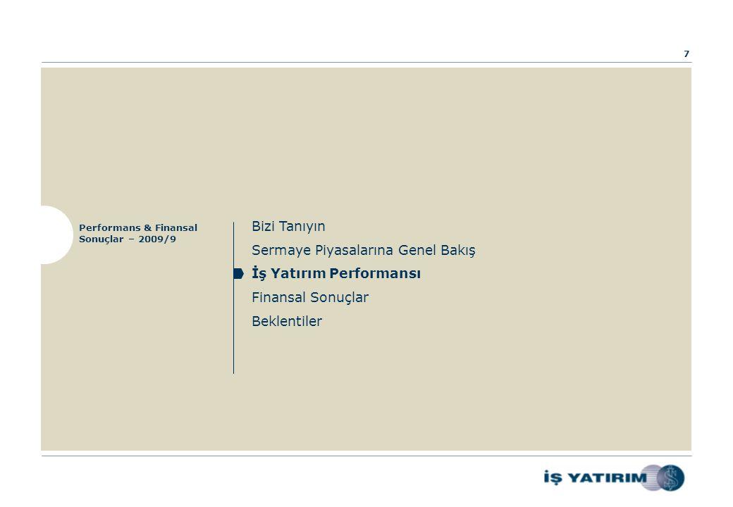 Bizi Tanıyın Sermaye Piyasalarına Genel Bakış İş Yatırım Performansı Finansal Sonuçlar Beklentiler Performans & Finansal Sonuçlar – 2009/9 7