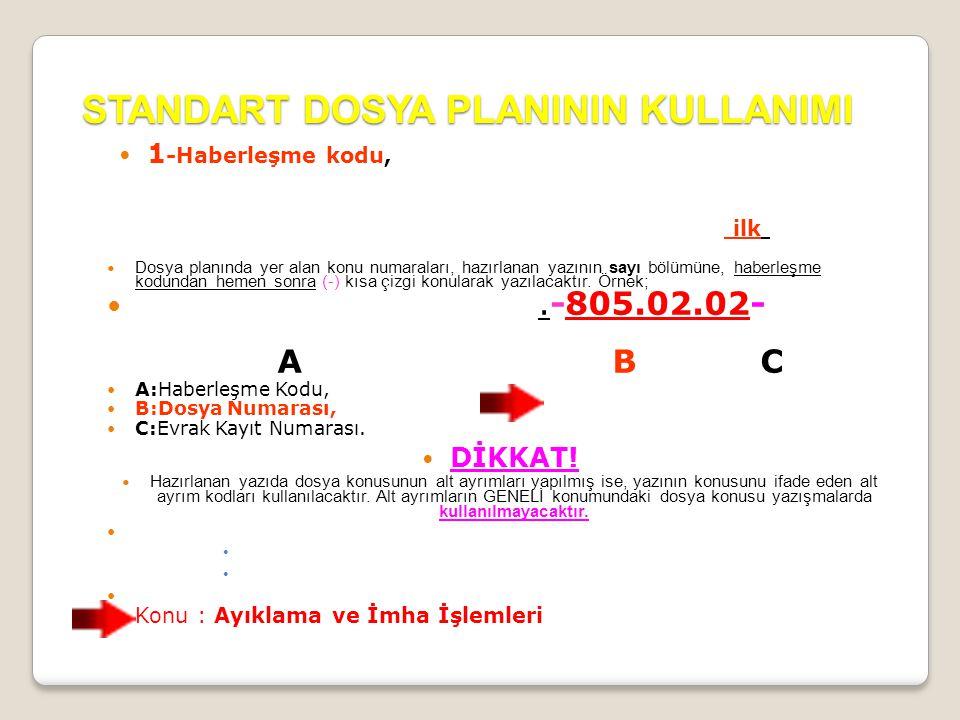STANDART DOSYA PLANININ KULLANIMI  1 -Haberleşme kodu, yazının hazırlandığı kurum ve kuruluşun en alt birimine kadar belirlendiği kodlama olup, 1991/