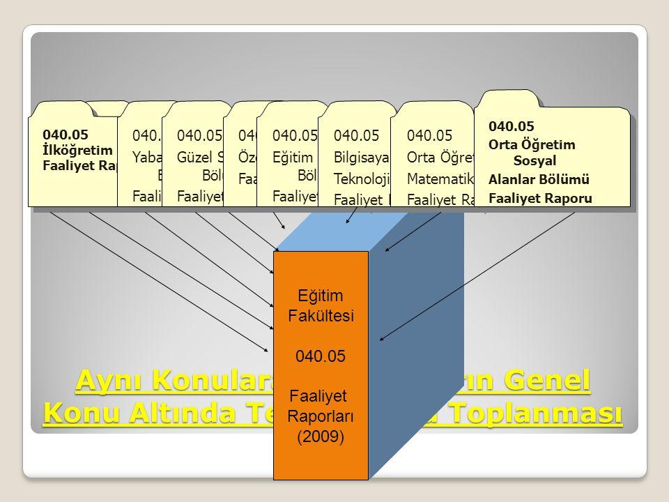 Aynı Konulara Ait Kayıtların Genel Konu Altında Tek Dosyada Toplanması 040.05 Türkçe Eğitimi Bölümü Faaliyet Raporu 040.05 Türkçe Eğitimi Bölümü Faali