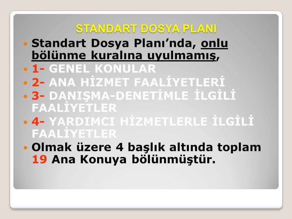 STANDART DOSYA PLANI  Standart Dosya Planı'nda, onlu bölünme kuralına uyulmamış,  1- GENEL KONULAR  2- ANA HİZMET FAALİYETLERİ  3- DANIŞMA-DENETİM
