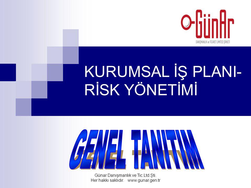 KURUMSAL İŞ PLANI- RİSK YÖNETİMİ Günar Danışmanlık ve Tic.Ltd.Şti. Her hakkı saklıdır. www.gunar.gen.tr