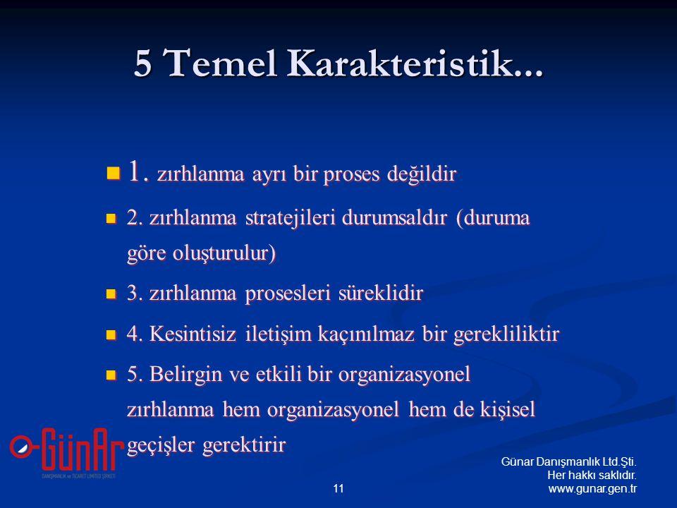 5 Temel Karakteristik...  1. zırhlanma ayrı bir proses değildir  2. zırhlanma stratejileri durumsaldır (duruma göre oluşturulur)  3. zırhlanma pros