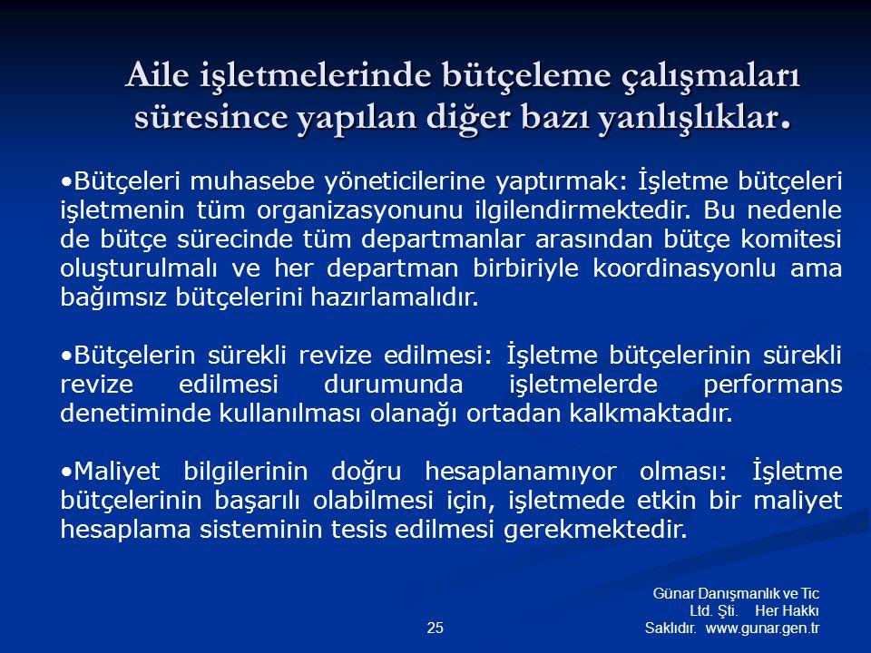Günar Danışmanlık ve Tic Ltd. Şti. Her Hakkı Saklıdır. www.gunar.gen.tr25 Aile işletmelerinde bütçeleme çalışmaları süresince yapılan diğer bazı yanlı