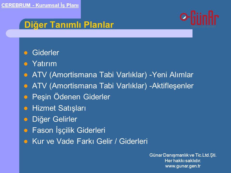 Diğer Tanımlı Planlar  Giderler  Yatırım  ATV (Amortismana Tabi Varlıklar) -Yeni Alımlar  ATV (Amortismana Tabi Varlıklar) -Aktifleşenler  Peşin Ödenen Giderler  Hizmet Satışları  Diğer Gelirler  Fason İşçilik Giderleri  Kur ve Vade Farkı Gelir / Giderleri CEREBRUM - Kurumsal İş Planı Günar Danışmanlık ve Tic.Ltd.Şti.
