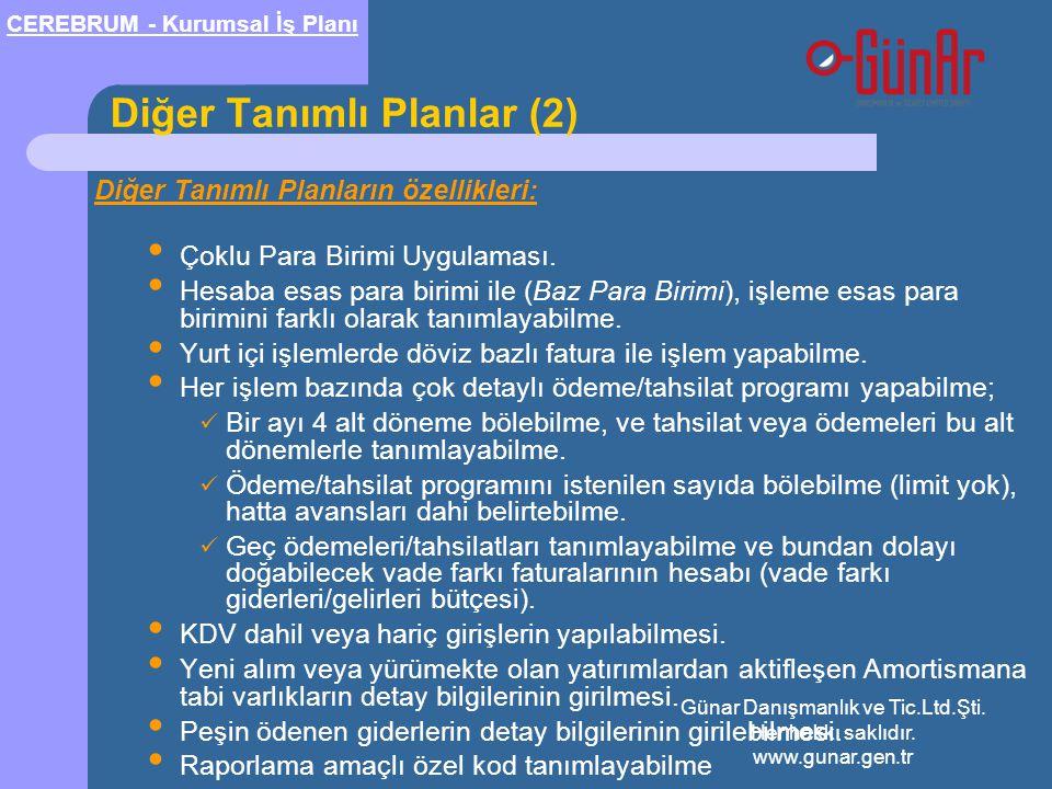 Diğer Tanımlı Planlar (2) Diğer Tanımlı Planların özellikleri: • Çoklu Para Birimi Uygulaması. • Hesaba esas para birimi ile (Baz Para Birimi), işleme