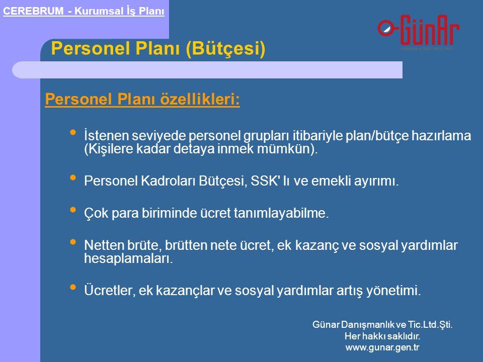 Personel Planı (Bütçesi) Personel Planı özellikleri: • İstenen seviyede personel grupları itibariyle plan/bütçe hazırlama (Kişilere kadar detaya inmek mümkün).