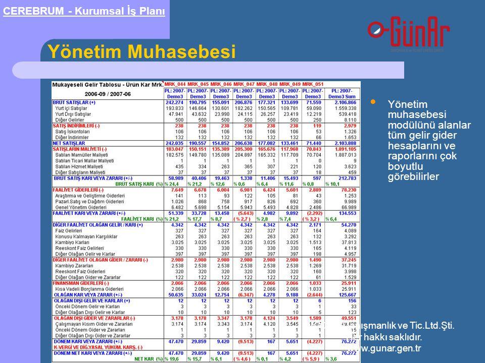 Yönetim Muhasebesi • Yönetim muhasebesi modülünü alanlar tüm gelir gider hesaplarını ve raporlarını çok boyutlu görebilirler CEREBRUM - Kurumsal İş Pl