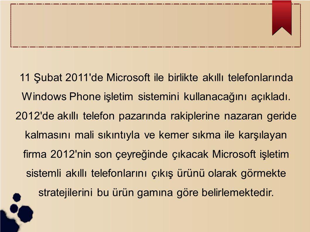 11 Şubat 2011'de Microsoft ile birlikte akıllı telefonlarında Windows Phone işletim sistemini kullanacağını açıkladı. 2012'de akıllı telefon pazarında