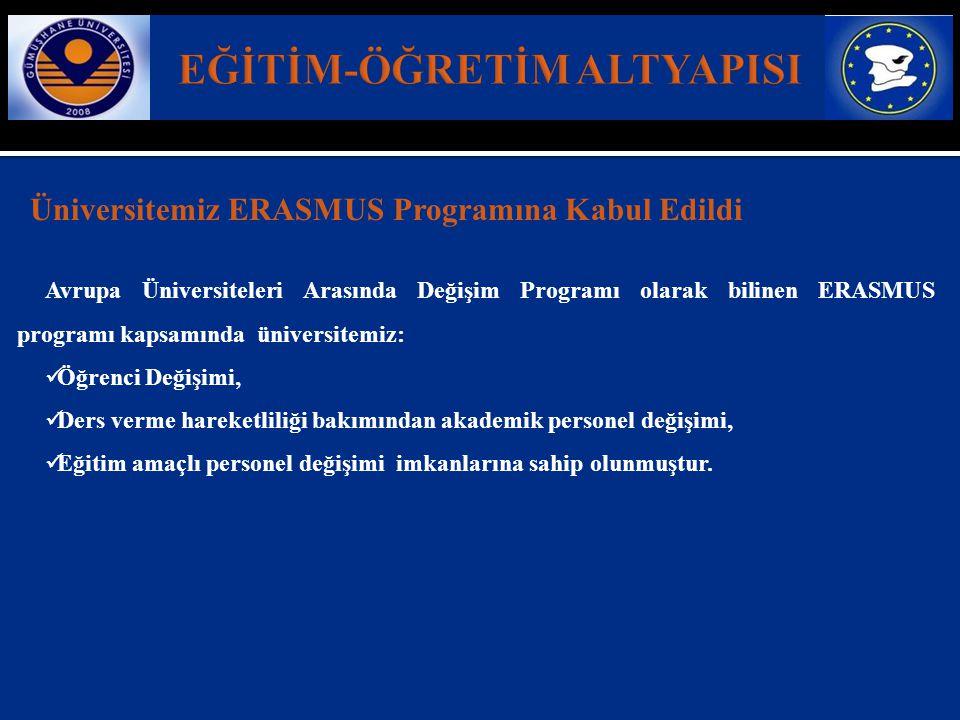 Üniversitemiz ERASMUS Programına Kabul Edildi Avrupa Üniversiteleri Arasında Değişim Programı olarak bilinen ERASMUS programı kapsamında üniversitemiz