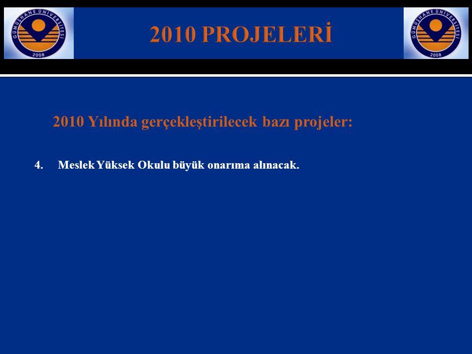 2010 Yılında gerçekleştirilecek bazı projeler: 4. Meslek Yüksek Okulu büyük onarıma alınacak.