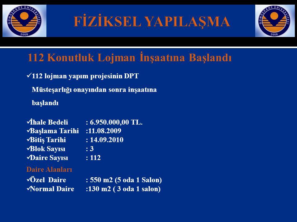 112 Konutluk Lojman İnşaatına Başlandı  112 lojman yapım projesinin DPT Müsteşarlığı onayından sonra inşaatına başlandı  İhale Bedeli: 6.950.000,00