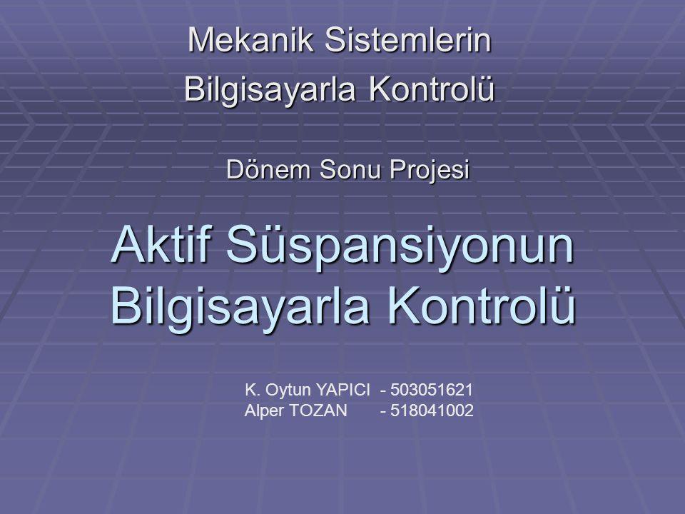 Aktif Süspansiyonun Bilgisayarla Kontrolü Mekanik Sistemlerin Bilgisayarla Kontrolü K. Oytun YAPICI - 503051621 Alper TOZAN - 518041002 Dönem Sonu Pro