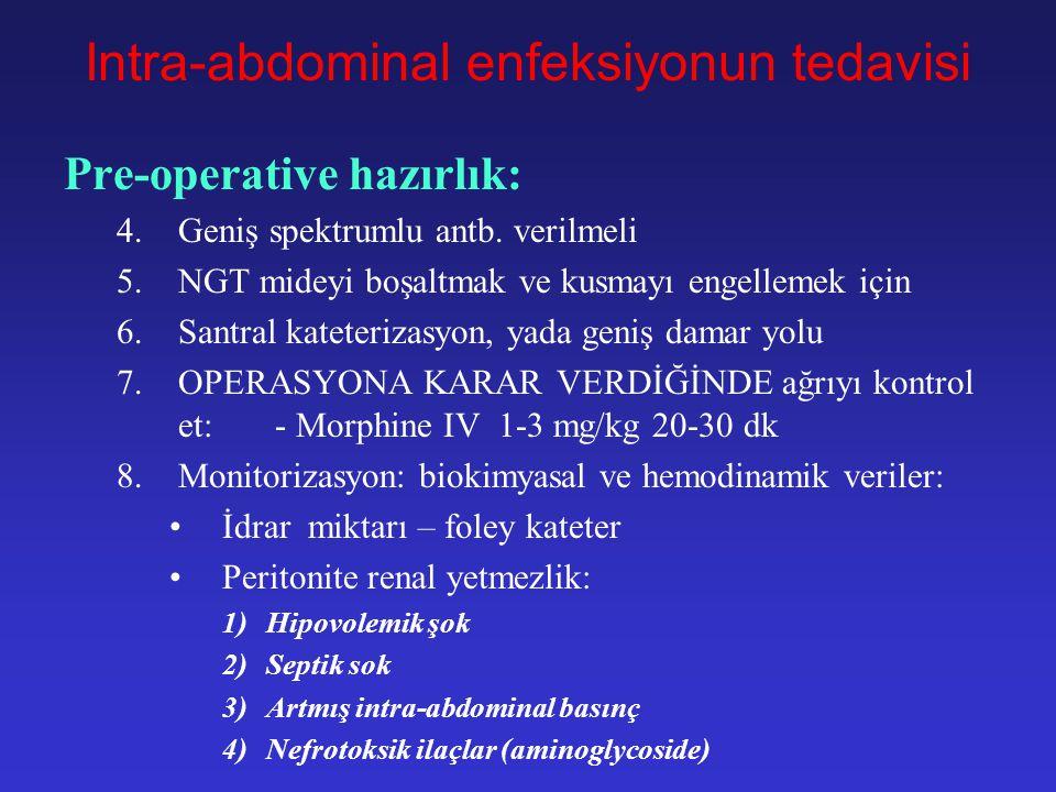 Intra-abdominal enfeksiyonun tedavisi Pre-operative hazırlık: 1.Intravasküler volüm yüklemesi Düşük doz dopamin ---> renal kan akımını düzeltir 2.İntr