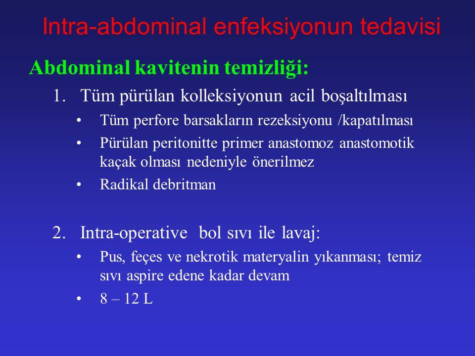 Intra-abdominal enfeksiyonun tedavisi Pre-operative hazırlık: 4.Geniş spektrumlu antb. verilmeli 5.NGT mideyi boşaltmak ve kusmayı engellemek için 6.S
