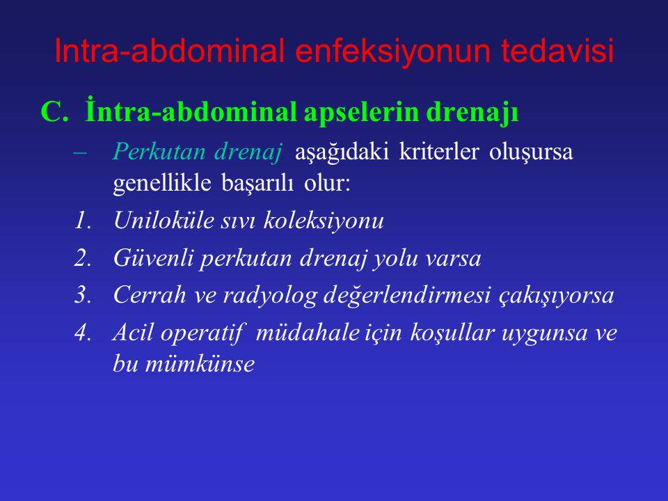 Intra-abdominal Abseler Intra- abdominal boşluklarda pus birikimi 1.Primer peritonitle birlikte 2.Sekonder peritonitle birlikte