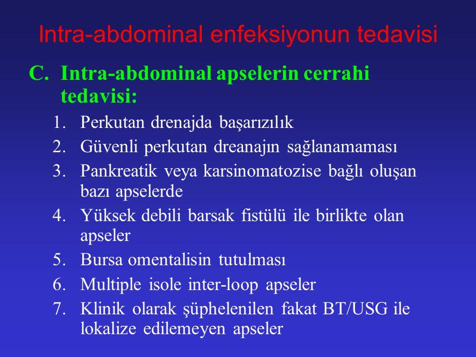 Intra-abdominal enfeksiyonun tedavisi C.İntra-abdominal apselerin drenajı –Perkutan drenaj aşağıdaki kriterler oluşursa genellikle başarılı olur: 1.Un