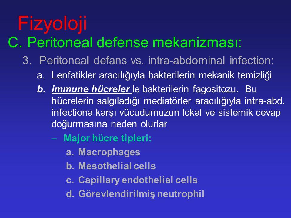 Fizyoloji A.Peritoneal sıvılar: –Mesothel hücrelerinden; 50-100ml; plasma eşdeğeri –Bu sıvı mesothel hücrelerinden ve sub-diafragmatik lenfatiklerden