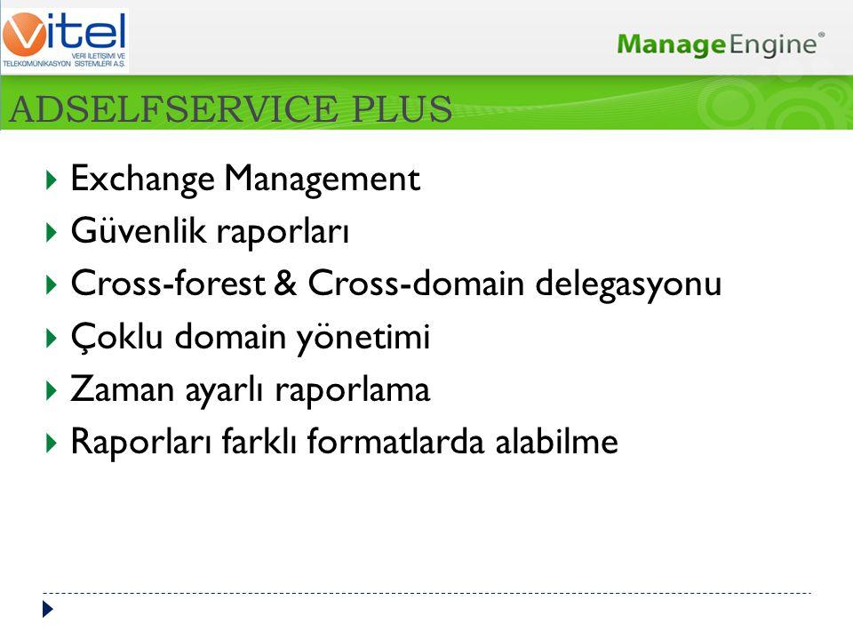  Exchange Management  Güvenlik raporları  Cross-forest & Cross-domain delegasyonu  Çoklu domain yönetimi  Zaman ayarlı raporlama  Raporları fark