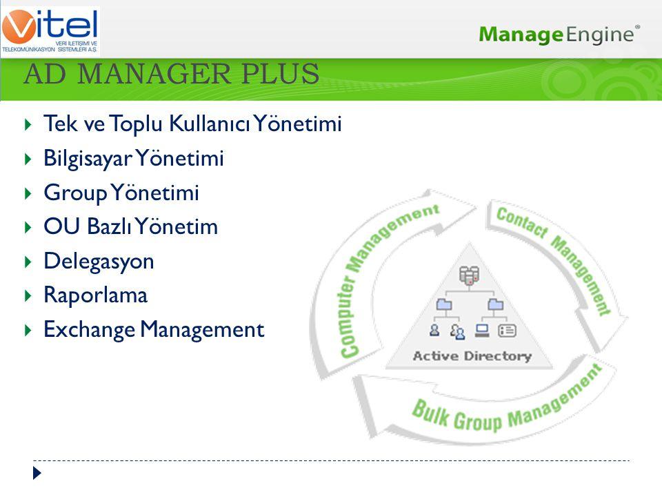 Tek ve Toplu Kullanıcı Yönetimi  Bilgisayar Yönetimi  Group Yönetimi  OU Bazlı Yönetim  Delegasyon  Raporlama  Exchange Management AD MANAGER