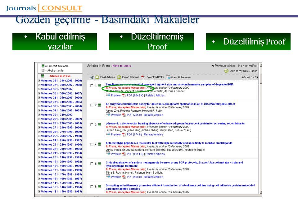 Gözden geçirme - Basımdaki Makaleler Kabul edilmiş yazılar Düzeltilmemiş Proof Düzeltilmiş Proof